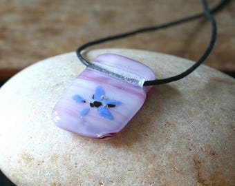 Animal Charity NBHA, Fused Glass Pendant Blues, OOAK, Gift for Her, Womens Jewelry, Handmade, Blue Fused Glass Necklace, Glass Jewelry