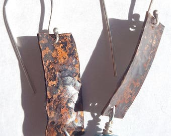 Hammered Copper Anticlastic Earrings 4