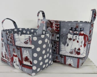 Ready to Ship - One of a Kind - Set of 2 Nesting - Fabric Organizer Storage Container Bins - Snowmen Christmas Trees Holiday Fabric