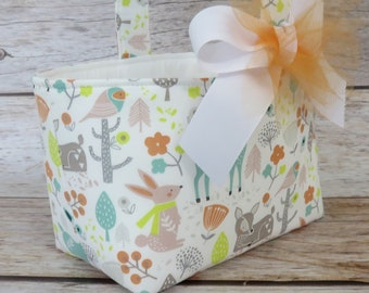 READY TO SHIP - Easter Candy Egg Hunt Basket Bucket Storage Container Bin - Sweet Baby Woodland Animals Fabric