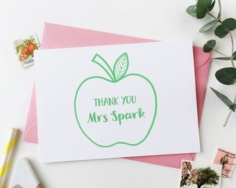 Teacher Card - Personalised Apple Teacher Card - Thank You Teacher Card - End Of Term Card - Personalised Card