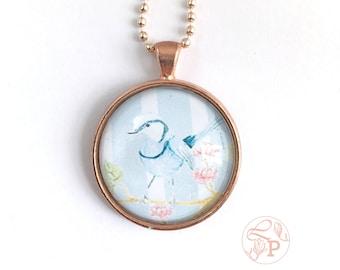 Bluebird pendant necklace / Superb Fairy Wren rose gold Pendant / rose gold jewellery / bluebird jewellery / shabby chic jewelry / pale blue