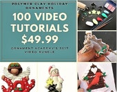 100 Video Tutorials for Polymer Clay, Christmas ornaments, PDF, Easter, Halloween