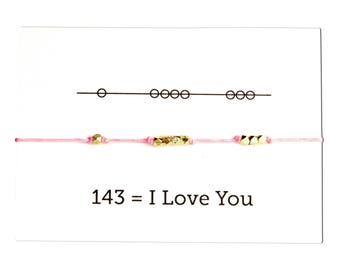 Knotted Cord Bracelet,  I Love You 143, Valentines Day, Pink