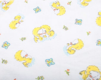 Adorable, 1960's, Baby Receiving Blanket, Yellow Ducks, Nursery, Very Clean, Retro, Fabric, Soft, Cuddly ~ The Pink Room ~ 161209
