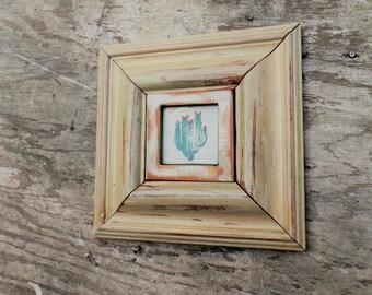 Framed Cactus Tile, Reclaimed Wood Art, Framed Talavera Tile, Rustic Home Decor, Rustic Wood Wall Art, Southwestern Decor Rustic Chic Decor