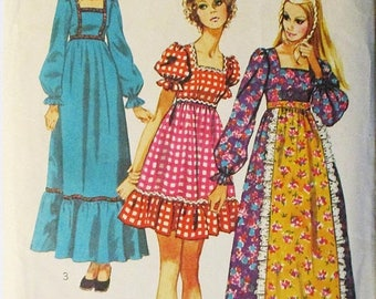 60% OFF SALE 1970s Vintage Sewing Pattern Simplicity 9486 Misses Dress Pattern Size 10 Bust 32 1/2