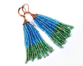 Tassel Earrings, Teal Green and Aqua Blue Glass Seed Beaded, Brass Dangle Earrings, FREE Shipping U.S.