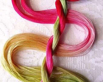 "Size 30 ""Rhubarb Pie"" hand dyed thread 6 cord cordonnet tatting crochet cotton"