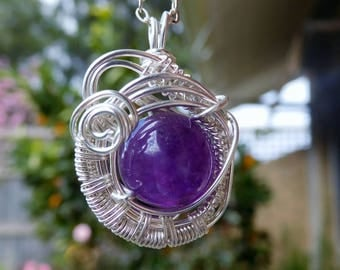 Amethyst weave Sterling silver wire wrapped pendant