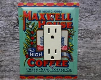 Decorative Lighting Lightswitch GFCI Cover Covers Made From An Old Maxwell House Coffee Tin For Vintage Kitchen Decor GFC-3020