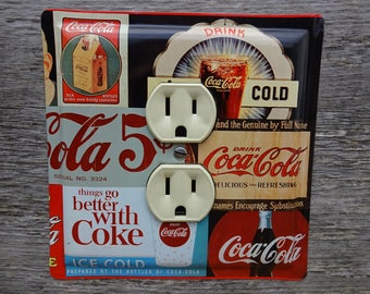 Coca Cola Lighting Light Switch Outlet Cover Made From An Old Coke Advertising Tin Kitchen Decor Sign Collector Collectible OLC-1055