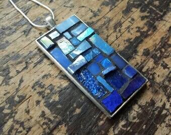 Cornflower Blue Ombre Rectangular Pendant with Silver Bezel