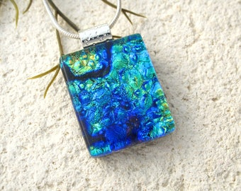 Golden Green Blue Earrings, Dichroic Earrings, Dichroic Jewelry, Dangle Drop Earrings, Fused Glass Sterling Earrings, ccvalenzo, 072017e106