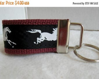 20% OFF Horses Small Key Fob - Horse Zipper Pull - Horse Mini Key Chain - Horse Lover Gift - Mustang Keychain - Stallion Key Fob - MAROON