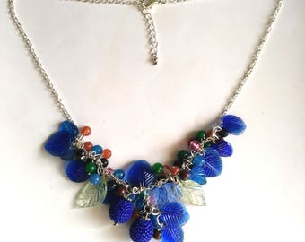 Blueberry necklace, Beaded Necklace, Colorful Evolution Fruit Necklace, Fruit& Leaf Statement Jewelry- Fruit Punch by enchantedbeads on Etsy