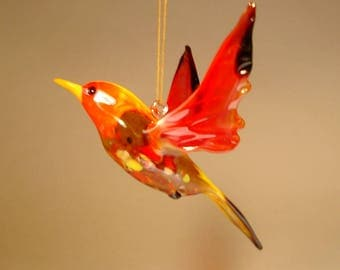 Handmade Blown Glass Art Figurine Hanging Red Bird Ornament