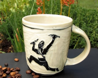 Handcarved Rock Climber Mug