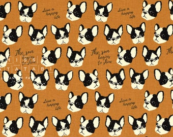 Japanese Fabric Kokka Boston Terriers - brown - fat quarter