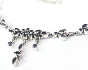 Blue Iolite and Sterling Silver Necklace