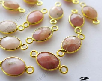 4 pcs Tiny 8mm x 6mm Oval Pink Opal Natural Gold Bezel Connector F393
