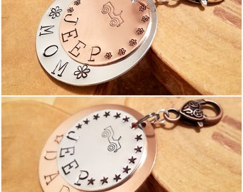 Jeep Mom or Jeep Dad double layered aluminum and copper hand stamped and polished key fob Makes a GREAT Mother's Day or Father's Day gift
