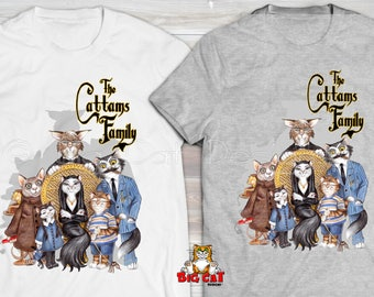 CATTAMS FAMILY T-shirt  Cats playing Addams Family cat tshirt.  Cat Lover tshirt. Cat Lover Gift. Halloween Shirt