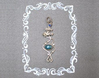 Fish silver pendant with kyanite