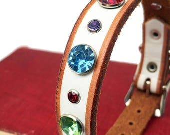 Rustic White Leather Dog Collar with Jewel Tone Rhinestones, Size XS/S, to fit a 8-11in Neck, Small Dog, Little Dog Collar, EcoFriendly