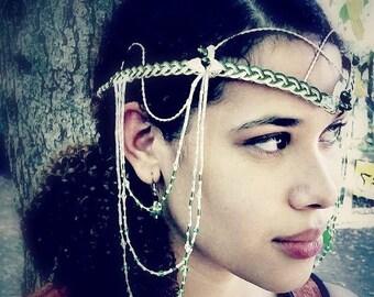 ON SALE Elven Renaissance Art Nouveau Headdress, Tribal Bellydance Costume, Festival Fashion, Boho Wedding Circlet