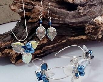 ON SALE Blue Fairy Jewelry Set Bracelet Necklace Earrings - Fairytale - Woodland - Boho Wedding Something Blue