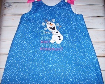 SAMPLE SALE Olaf Do You Want To Bulid A Snowman Blue Dot A-line Dress Size 4T--Frozen--Vacation--Christmas--Ready to Ship