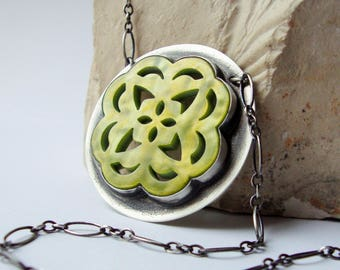 Green Mother of Pearl Snowflake Cabochon Necklace, Peridot Mother of Pearl Cabochon Sterling Silver Necklace