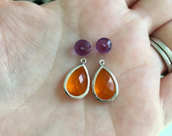 Orange Purple Earrings, Amethyst Quartz Gemstone, Amber Glass, Sterling asilver Ear Wires, Fall Fashion