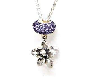 Necklace Lotus Blossom  Flower Sterling Silver Lavender Meditation Austrian Crystal Bead Jewelry Pendant Charm 2006