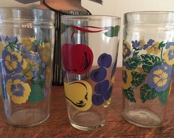 Vintage Set of 2 Jelly Jar Flowers Fruit Glasses Yellow Blue Green epsteam Barware Cottage