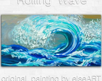 Art Original seascape painting modern landscape painting bright blue abstract painting large fine art Rolling Wave 48 X 24