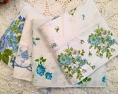 Set of 4 Vintage Pillowcases - Florals - Blue Mix - 1970s - Standard Size - Roses
