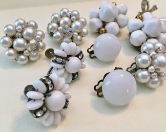 Vintage White Earrings - Clip On - Screw Back -  Earrings - Collection of 6 Pairs - Some Japan - Collection White Earrings for Wedding