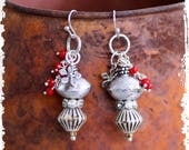 Red Silver Gypsy Earrings, African Silver Saucer Earrings, Silver Hoop Earrings, Altered Metal Earrings, Red Beaded Earrings