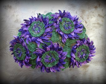 Large, Floral, Flower Stone, Bloom, Crocheted Lace, Original, Handmade, Home Decor, Table Decor, Centerpiece, Purple, Green, Unique, Monicaj