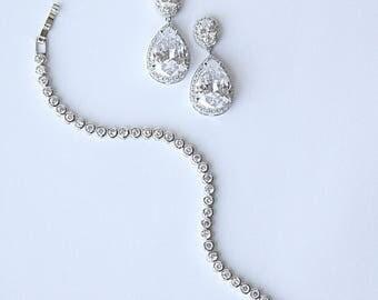 Minimalist Diamante Bezel Bridal Tennis Bracelet Earrings Jewelry Set Wedding Earrings Necklace Cocktail Jewelry