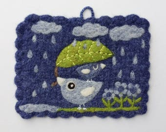 RESERVED Wall hanging felted blue wool fiber art hand knit with needle felted birdie birds rain clouds leaf