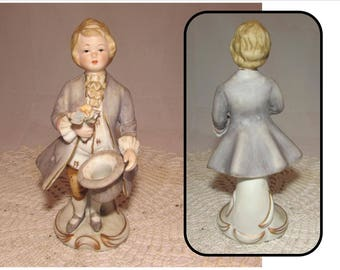Vintage Porcelain Bisque Figurine Boy with Flowers in 18th Century style clothes, proposal