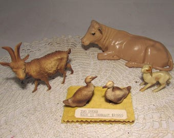 LOT of 4 Vintage Miniature Plastic Barnyard Animals, Made in Germany, Billy Goat, 2 Brown Ducks, Cow, 1920s