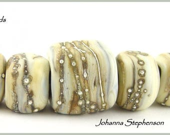 BIG HOLE Heavy Silver Winter Whites Lampwork Bead Set SRA