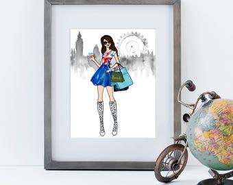London Calling  Fashion Illustration Wall Art | choice of skin tone/hair color