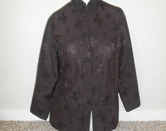 Closing Shop 40%off SALE Silk Brown Jacket, Brown Floral Jacket