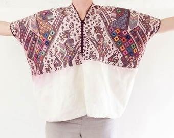 VTG Hand-Woven Embroidered Nahuala Guatemalan Huipil. Lion Motif