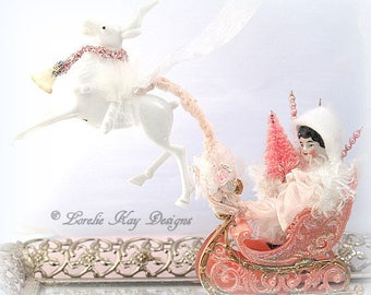On Vixen Vintage Inspired Spun Cotton Doll Ornament Christmas Decoration Miniature Spun China Head Doll In Sleigh Vintage Inspired Art Doll